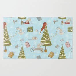 From Mice And Christmas-Cute teal X-Mas Pattern Rug