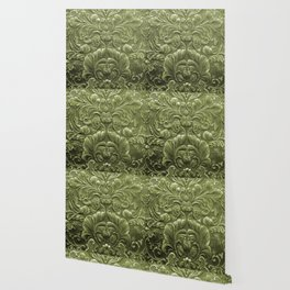 Celery Tooled Leather Wallpaper