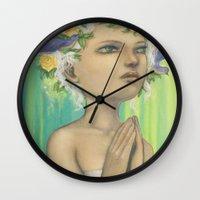 virgo Wall Clocks featuring Virgo by Artist Andrea