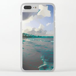 Paradise Beach Digital Painting With Palm Trees Clear iPhone Case