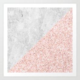 Rose Gold Glitter White Gray Marble Concrete Luxury III Art Print