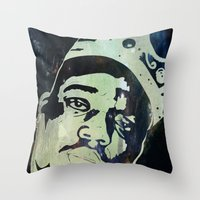biggie smalls Throw Pillows featuring Biggie Smalls by Taylor Burleson