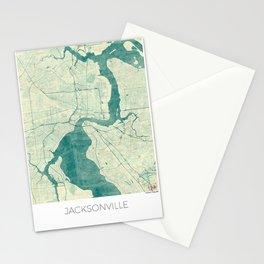 Jacksonville Map Blue Vintage Stationery Cards