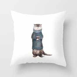 Wesley the River Otter Throw Pillow