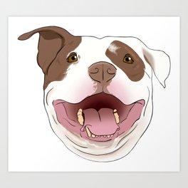 White/Brown Pitbull Art Print