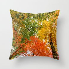Colorful autumn forest Throw Pillow
