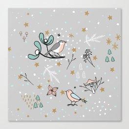 Scandinavian birds Canvas Print