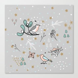 Scandinavian birds Canvas Print
