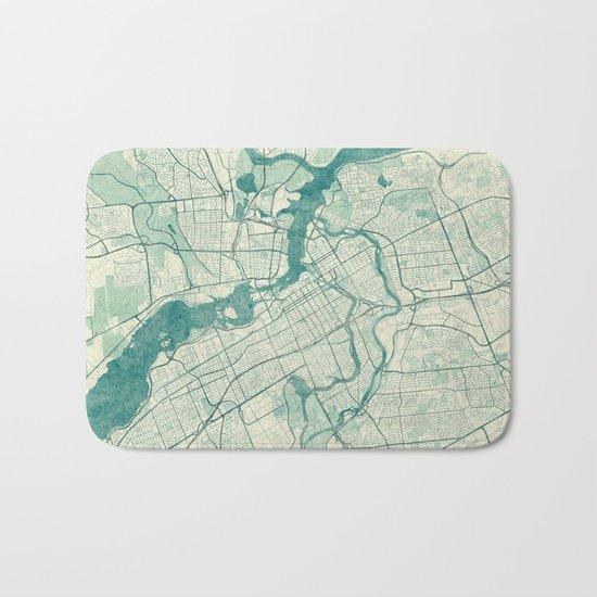 Ottawa Map Blue Vintage Bath Mat
