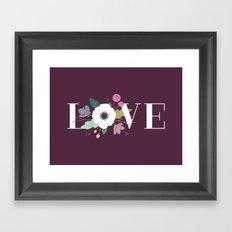 Floral Love - in Plum Framed Art Print