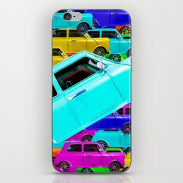 vintage classic car toy pattern background in yellow blue pink green orange iPhone Skin