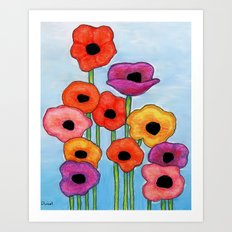 Colorful Poppies on Blue Art Print