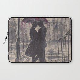 Silouette lovers on rainy street Laptop Sleeve