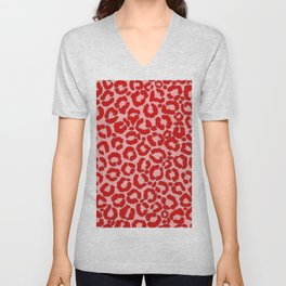 Bold Modern Red Pink Leopard Animal Print Unisex V-Neck
