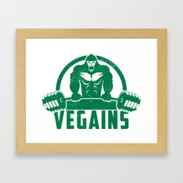 Vegains Vegan Muscle Gorilla - Funny Workout Quote Gift Framed Art Print