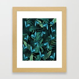 Tropical Butterfly Jungle Night Leaves Pattern #5 #tropical #decor #art #society6 Framed Art Print