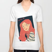 amy pond V-neck T-shirts featuring Amy Pond by Lara Pickle