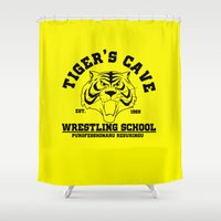 wrestling Shower Curtains featuring Tiger's cave wrestling school by CarloJ1956