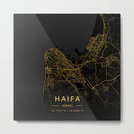 Haifa, Israel - Gold Metal Print