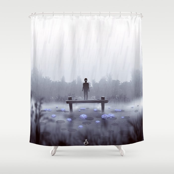 Ghost Lotus Shower Curtain By Rbranco