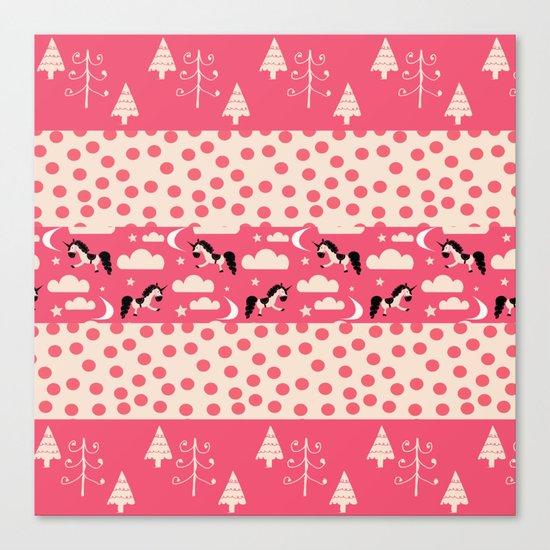 Unicorn Pink patchwork Canvas Print