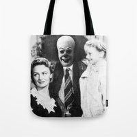 pennywise Tote Bags featuring PENNYWISE IN A WONDERFUL LIFE by Luigi Tarini