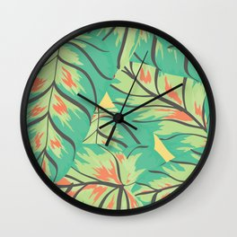 Candy Colored Monstera Wall Clock
