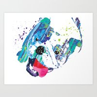 english bulldog Art Prints featuring English Bulldog by free in the lines