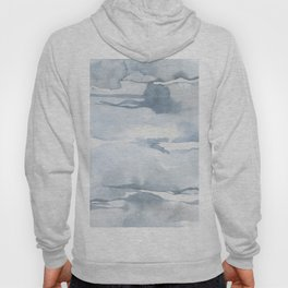 Pastel blue gray abstract watercolor brushstrokes stripes pattern Hoody