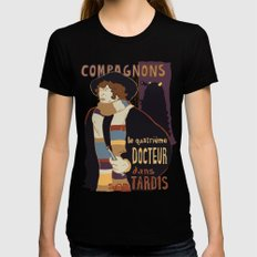 Le Fourth Doctor X-LARGE Womens Fitted Tee Black