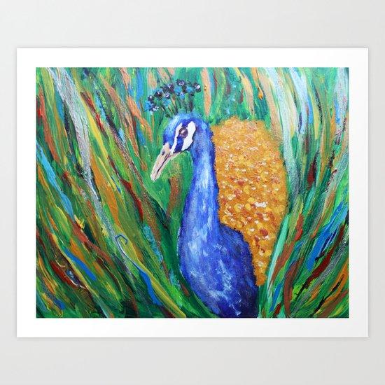Metallic peacock Art Print