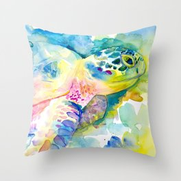 Sea Turtle Watercolor Illustration by Julie Lehite, Julesofthesea Throw Pillow
