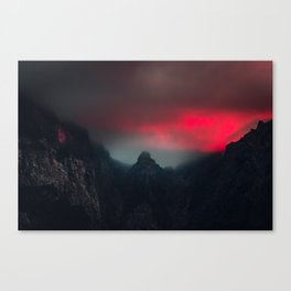 Burning clouds, fog and mountains Canvas Print
