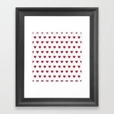 Red polka dot Hearts pattern Framed Art Print