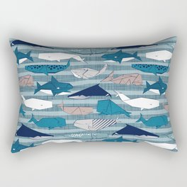 Origami Sea // linen texture and nautical stripes background teal white and taupe whales Rectangular Pillow