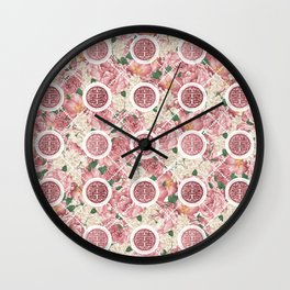 Double Happiness Symbol on Gentle Peony pattern Wall Clock