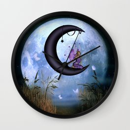 Beautiful fairy sitting on the moon Wall Clock