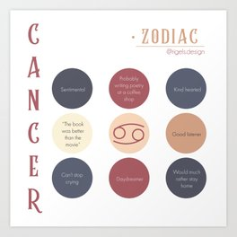 Cancer Zodiac Sign Personality Art Print