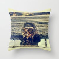 oasis Throw Pillows featuring oasis by LindaMarieAnson