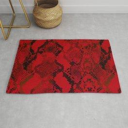 Red snake skin animal print pattern Rug