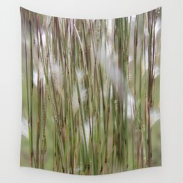 Wispy on green and magenta reeds Wall Tapestry
