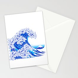 Kanagawa Cat Wave White Stationery Cards