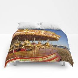 Golden Carousel at the Beach Comforters