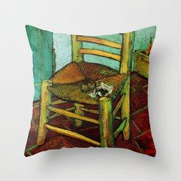 Van Gogh, Van Gogh's Chair – Van Gogh,Vincent Van Gogh,impressionist,post-impressionism,brushwork,pa Throw Pillow