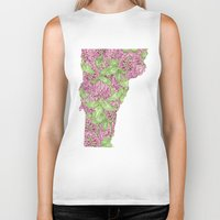 vermont Biker Tanks featuring Vermont in Flowers by Ursula Rodgers