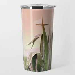 Agave in the Garden on Pastel Coral Travel Mug