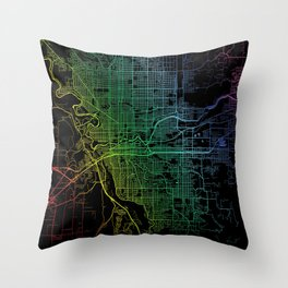 Spokane, WA, USA, City, Map, Rainbow, Map, Art, Print Throw Pillow