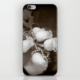 Pearl and roses iPhone Skin