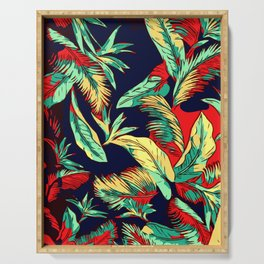 Madagascar Exotic Leaves Midnight Serving Tray