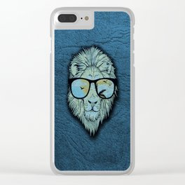 Stylish Lion Design with Moroccan Leather background Clear iPhone Case